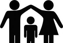 Silhouetten gezinsleden
