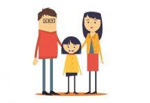 Tekening van gezin met pleegkind